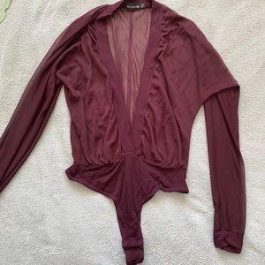 Maroon Low Cut Sheer Pretty little thing Bodysuit!